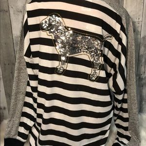 VS PINK Bling Striped Campus Long Sleeve Tee